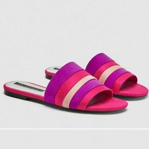 Zara Colored Flat Slides Sandals 👡 Pink Fuchsia 6